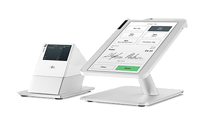 Clover Station POS System front view with tilted customer display
